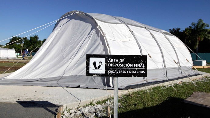A tent, part of a field hospital set up for training purposes, is pictured in the Pedro Kouri Tropical Medicine Institute, where Cuban doctors train for their Ebola mission, in Havana October 17, 2014.(Reuters / Enrique De La Osa)