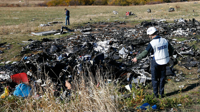 Members of the recovery team work at the site where the downed Malaysia Airlines flight MH17 crashed, near the village of Hrabove (Grabovo) in Donetsk region, eastern Ukraine, October 13, 2014. (Reuters / Shamil Zhumatov)