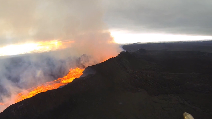 7 weeks of eruption: Stunning aerial video of Iceland's Bardarbunga volcano