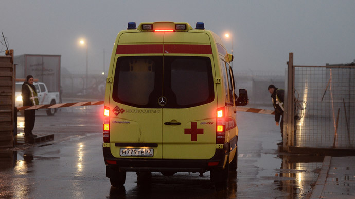 Emergency unit not far from crash site of Falcon airplane which crashed in Moscow's Vnukovo Airport. (RIA Novosti / Maksim Blinov)