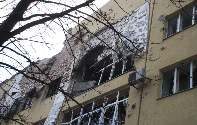 A destroyed residential building at Donetsk's airport area. (RIA Novosti / Gennady Dubovoy)