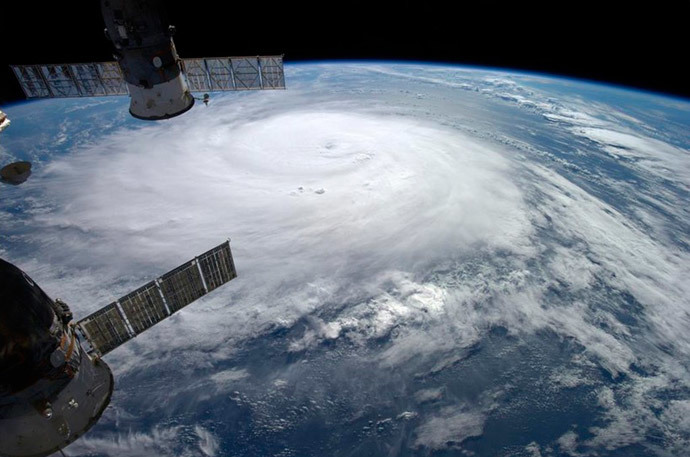 Hurricane Gonzalo is seen over the Atlantic Ocean in this image taken from the International Space Station October 17, 2014. (Reuters / NASA / Alexander Gerst / Handout via Reuters)