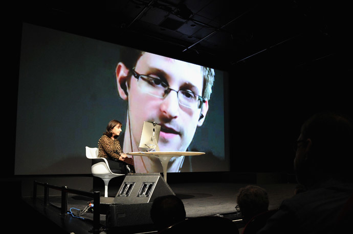 General view of atmosphre at Edward Snowden Interviewed by Jane Mayer at the MasterCard stage at SVA Theatre (Bryan Bedder / Getty Images for The New Yorker / AFP)
