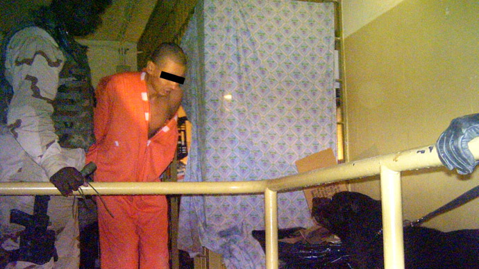 This handout photo from Australia's SBS TV released 15 February, 2006 allegedly shows a prisoner in Iraq's notorious Abu Ghraib. (AFP Photo/HO/SBS Dateline)