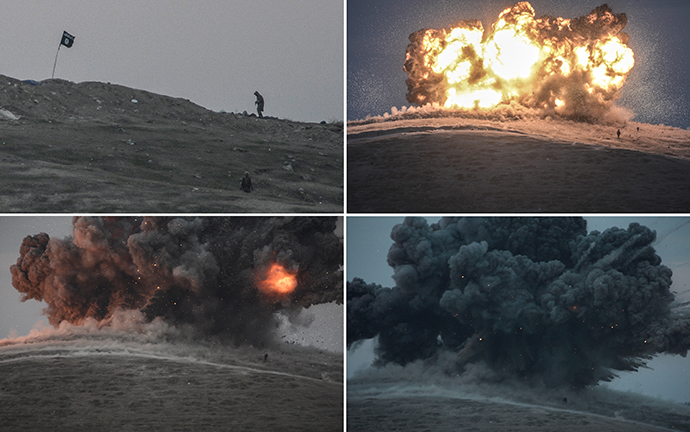 A combination of four images show from top left to bottom right:- militants of Islamic State (IS) seen just before and after an explosion from an air strike on Tilsehir hill near the Turkish-Syrian border on October 23, 2014, from Yumurtalik village, in Sanliurfa province. (AFP Photo / Bulent Kilic)