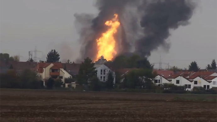 Massive gas pipeline inferno shakes German town (VIDEOS)