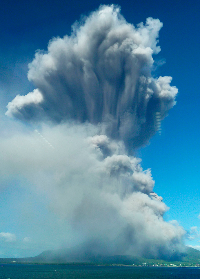 Smoke rises after an eruption of Mount Sakurajima in Kagoshima, southwestern Japan, in this photo taken through a window by Kyodo August 18, 2013 (Reuters / Kyodo)