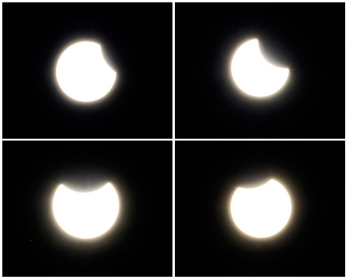 A partial solar eclipse is shown in a combination of photographs from San Diego, California October 23, 2014 (Reuters / Mike Blake)