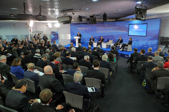 Russian President Vladimir Putin speaks at the wrap-up session of the 11th Meeting of the Valdai Discussion Club in Sochi on 24 October 2014. (RIA Novosti / Vitaliy Belousov)