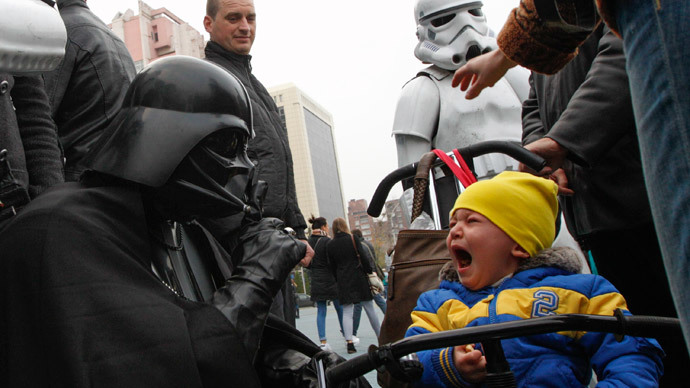 Ukraine election 'force': Darth Vader leaves Kiev kids in tears