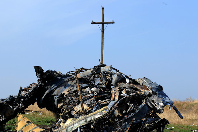 A picture taken on October 15, 2014 shows the wreckage of Malaysia Airlines flight MH17 near the village of Rassipnoe. The flight MH17 was shoot down on July 17, 2014 with 298 people on board. (AFP Photo)