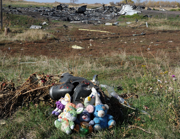 A picture taken on October 15, 2014 shows candles and plush toys at the site of the crash of the Malaysia Airlines flight MH17 near the village of Rassipnoe. (AFP Photo)