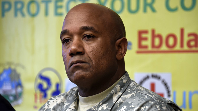 US Major General Darryl Williams, commander of the US military's Operation United Assistance, holds a press conference about the Ebola virus at the US embassy in Monrovia on September 25, 2014. (AFP Photo)