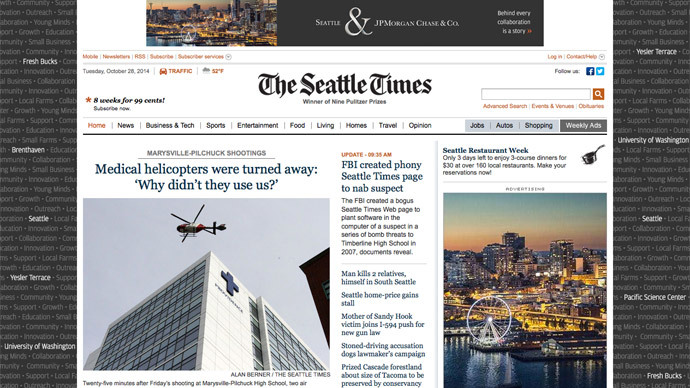 FBI pretended to be Seattle newspaper in order to hack suspect's computer