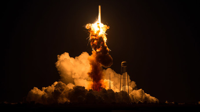 Antares space rocket blast captured from 3,000 feet (VIDEO)