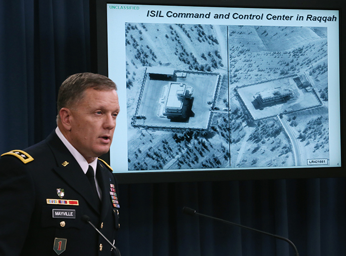 Lt. Gen. William C. Mayville Jr. speaks about the Syrian bombing campaign September 23, 2014 in Washington, DC (AFP Photo / Mark Wilson)
