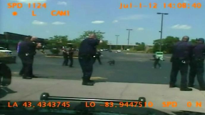 8 white cops, 1 black homeless man, 46 bullets