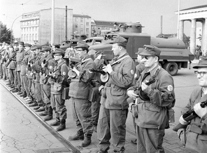 East German Combat Groups of the Working Class close the border on August 13, 1961, in preparation of the Berlin Wall's construction. (wikipedia.org/German Federal Archive)
