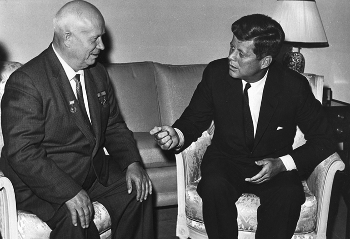 John F. Kennedy (R) and Nikita Khrushchev in 1961. (Image from wikipedia.org/Photograph from the U.S. Department of State in the John F. Kennedy Presidential Library and Museum, Boston.)