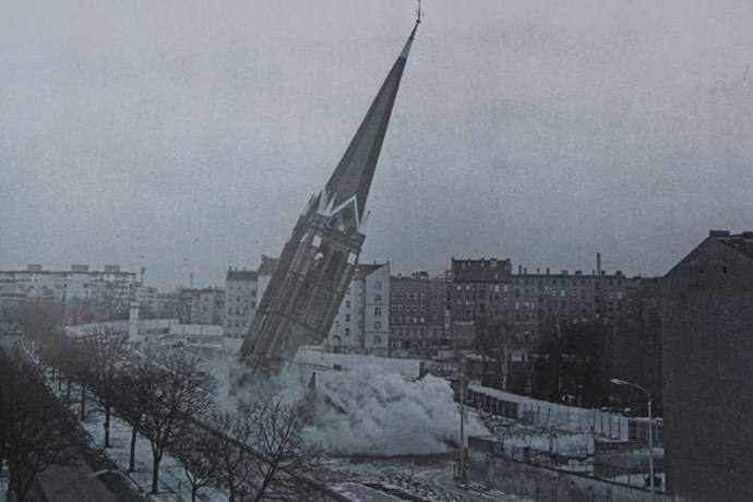 The demolition of the Church of Reconciliation in 1985