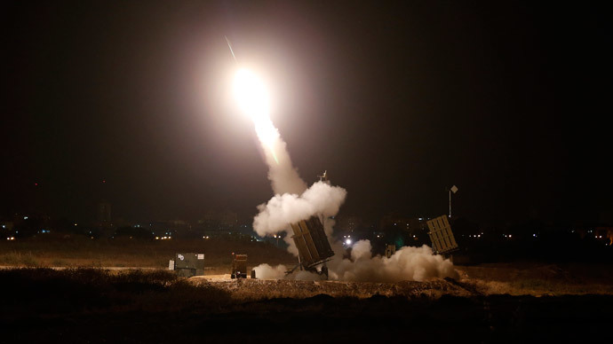 An Iron Dome launcher fires an interceptor rocket (Reuters / Baz Ratner)