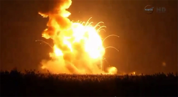 An unmanned Antares rocket is seen exploding seconds after lift off from a commercial launch pad in this still image from NASA video at Wallops Island, Virginia October 28, 2014 (Reuters / NASA)