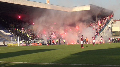 All in flares: Sarajevo fans set football field alight, clash with police (VIDEO)
