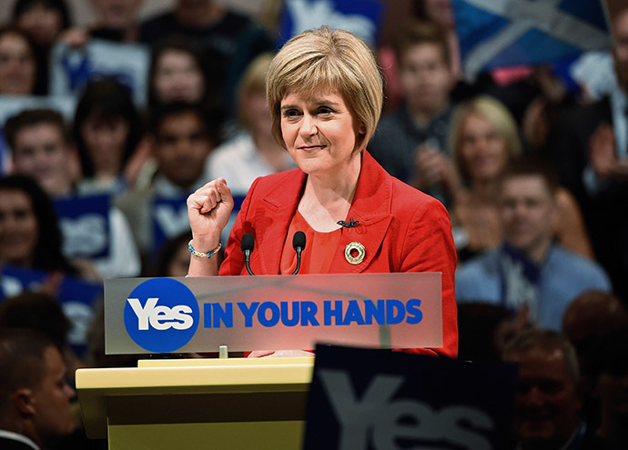 Deputy First Minister of Scotland Nicola Sturgeon speaks at a 'Yes' campaign rally in Perth, Scotland September 17, 2014. (Reuters/Dylan Martinez)