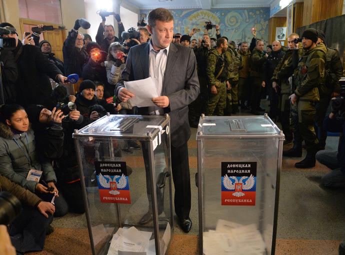 Prime Minister of Donetsk People's Republic, Aleksandr Zakharchenko, casting his vote. RIA Novosti / Aleksey Kudenko