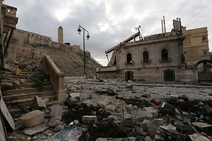 View of the damaged UNESCO-listed citadel in the northern Syrian city of Aleppo. (AFP Photo/Zein Al-Rifai)