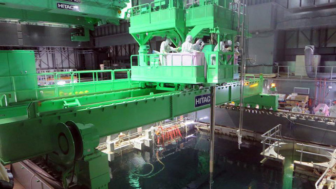 Reactor 4 spent fuel storage pool. Photo by Tepco