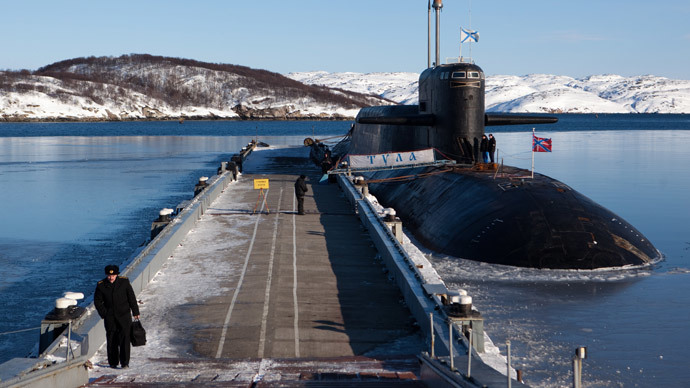 The K-114 Tula nuclear submarine at a pier of the Russian Northern Fleet's naval base in the town of Gadzhievo.(RIA Novosti / Mikhail Fomichev)