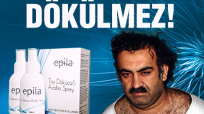 Scary hairy! 9/11 mastermind becomes poster star for Turkish hair-removal cream