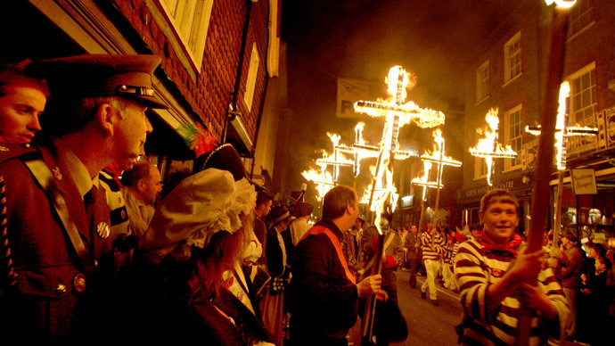 Local bonfire societies parade through the town at the annual Lewes bonfire and procession, Lewes, East )