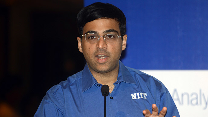 Five-time Indian World Chess Champion and National Institute of Information Technology (NIIT) MindChampion Viswanathan Anand. (AFP Photo/Raveendran)