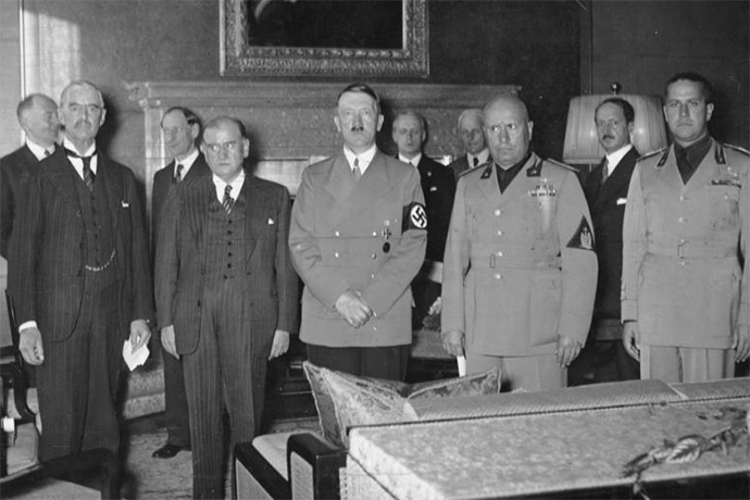 From left to right: Chamberlain, Daladier, Hitler, Mussolini and Ciano pictured before signing the Munich Agreement on September 28, 1938.