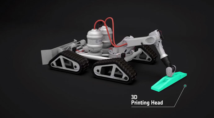 A 3D-printing robot (Still from YouTube video/European Space Agency)