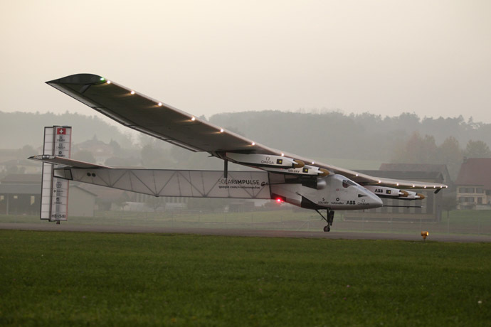 The solar-powered Solar Impulse 2 experimental aircraft (Reuters/Pierre Albouy)