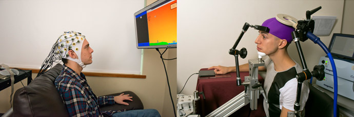 Students during a brain-to-brain interface demonstration (Image from the press-release, Mary Levin, UW)