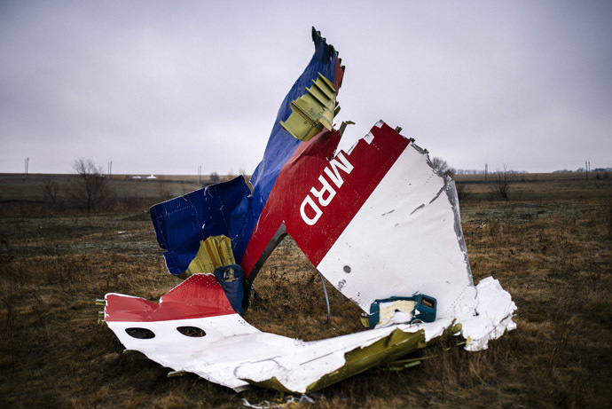 A picture taken on November 10, 2014, shows parts of the Malaysia Airlines Flight MH17 at the crash site near the village of Hrabove (Grabovo), some 80 kms east of Donetsk. (AFP Photo/Dimitar Dilkoff)