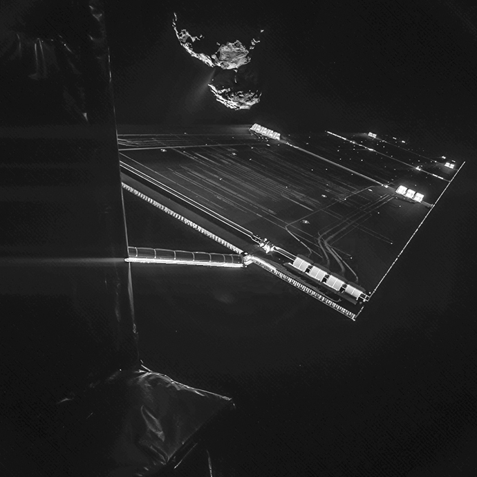 A handout photo released on October 15, 2014 by the European Space Agency shows a picture taken with the CIVA camera on Rosetta's Philae lander showing comet 67P/Churyumov–Gerasimenko from a distance of about 16 km from the surface of the comet (AFP Photo / ESA)