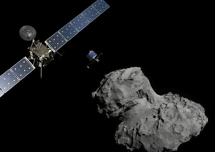 Rosetta at Comet (landscape) (Image from esa.int)