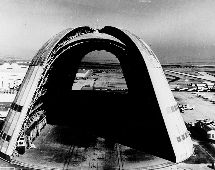 View of Hangar One, the huge dirigible hangar, with doors open at both ends (Image from wikipedia.org)