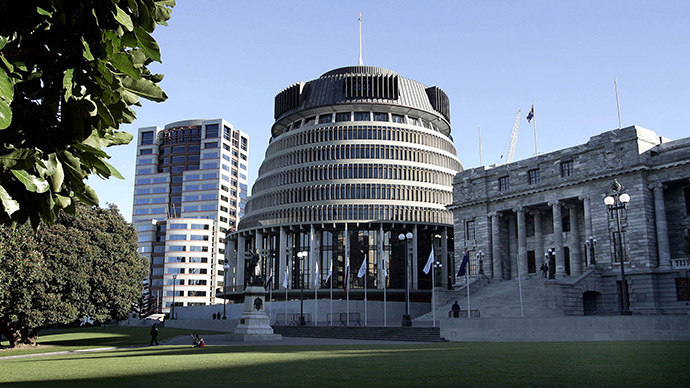 Parliament buildings comprising Bowen House (L), the Beehive (C) and old Parliament buliding (R) in Wellington. (Reuters)