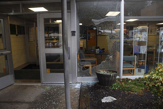 A shattered window at Sandy Hook Elementary School in Newtown, Connecticut, is pictured in this evidence photo released by the Connecticut State Police. (Reuters/Connecticut State Police)