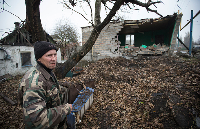 House, which was damaged by shelling in the village of Spartak, on the outskirts of Donetsk, eastern Ukraine (Reuters / Shamil Zhumatov)