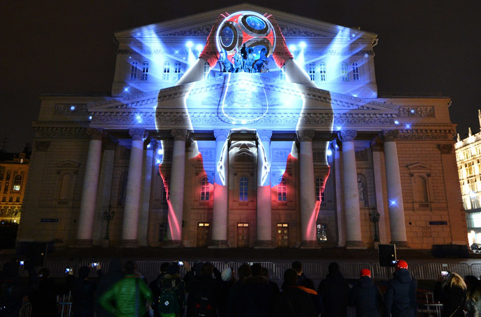 The presentation of the official emblem of 2018 FIFA World Cup Russia projected on the facade of the State Academic Bolshoi Theatre, Moscow. (RIA Novosti/Vladimir Sergeev)