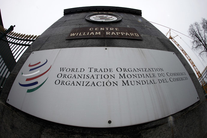 The World Trade Organization WTO logo is seen at the entrance of the WTO headquarters in Geneva (Reuters/Ruben Sprich)