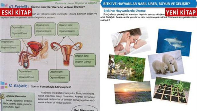 Sixth grade science and technology textbooks in Turkey before (left) and after (right).