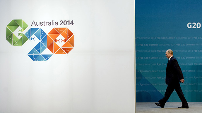 Russia's President Vladimir Putin†arrives for the G20 Summit in Brisbane on November 15, 2014. (AFP Photo/Alain Jocard)